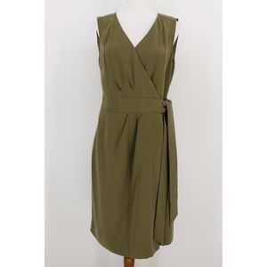 Banana Republic Sleeveless Wrap Dress Olive Sz. 6